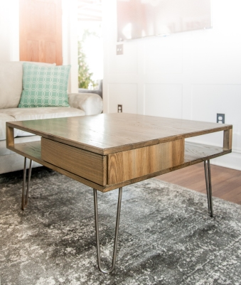 Mid-Century table in weathered ash.